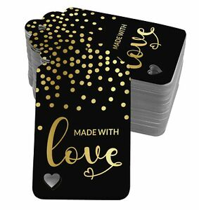 Made With Love Text Paper Tags Craft Foil Hang Tags-SH5_5BG
