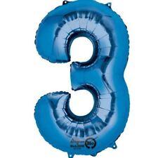 Numero 3 Blue Supershape Pallone Foil Compleanno Anniversario Decorazioni Festa