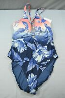 La Blanca Ombre Floral Plunge One-Piece Swimsuit, Women's Size 12, Blue NEW