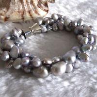3 Stränge 5-9 mm grau Barock Süßwasser Perle Armband