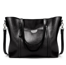 Korean Leather Shoulder Tote Bag with Pocket (Black)