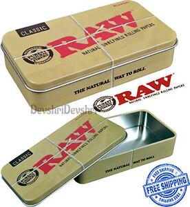 Raw CLASSIC UNHINGED METAL TIN Tobacco Camping Storage Sewing Survival Tin