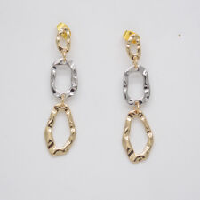 infeein jewelry two tone stud post earrings round link hammered circle for women