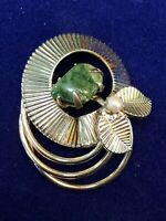 Vintage Gold And Jade Stone Real Pearl Wreath Flower Leaf  Brooch Pin 1 3/4""