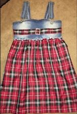Greggy Girl Girls Designer Plaid &  Denim Dress Sz 8 Red Suspenders, Rhinestones