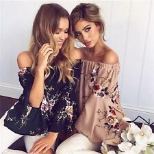 Women Floral Off Shoulder Tops Loose Boho Beach Ladies Casual T Shirt Tee Blouse