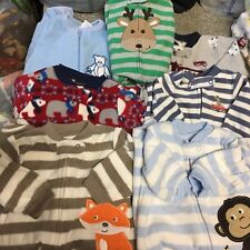 Baby boys fleece footed zip-up pajamas size 0-3 & 3 Months EC Fall Winter