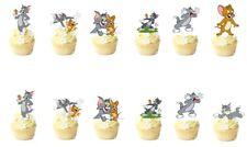 14 TOM E JERRY Stand Up Cupcake pre-tagliati topper decorazioni commestibili carta commestibile