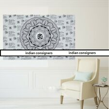 White Color Lord Ganesha Wall Hanging Textile Tapestry Poster Cotton Indian Art