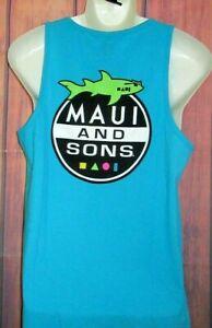 MENS MAUI AND SONS SHARK BLUE TANK TOP T-SHIRT SIZE M