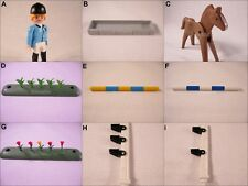 PLAYMOBIL VINTAGE 3854 JOCKEY TEAM JUMP OBSTACLES TULIPS HORSE BRN/WHITE-CHOICE