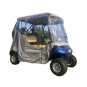 2 Passenger Driving Enclosure Golf Cart Cover Fits EZ GO, Club Car, Yamaha Grey