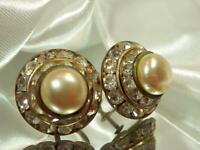 Vintage 1940's Deco Flower Rhinestone Screw Back Earrings  829my9 *See Text*