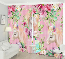 3D Pink Background Unicorn and Flowers Window Curtains Blockout Drapes Fabric