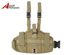 Tactical Military Airsoft Molle Versatile Drop Leg Pistol Gun Holster Pouch Tan