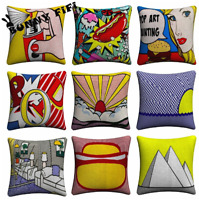 Retro POP ART Cushion Covers! Bold Roy Lichtenstein Colour Comic Book 45cm Gift