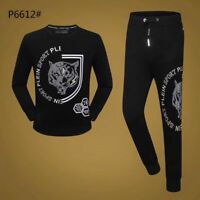 PHILIPP PLEIN Black Skull Men Long Sleeve Sports Suit PS6612# Size M-3XL