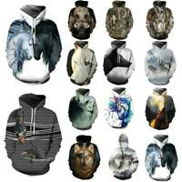 Unisex 3D Animal Printed Couple Hoodie Pullover Sweatshirt Hooded Jumper Autumn
