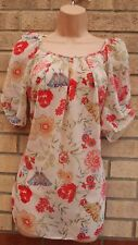 K&D CREAM RED MULTI COLOUR FLORAL BUTTERFLY CHIFFON BLOUSE TOP TUNIC SHIRT 20