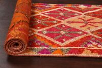 Excellent Vegetable Dye Decorative 13 ft Moroccan Runner Rug Wool 12' 10 x 2' 8