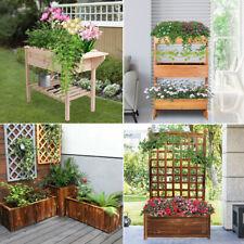 Various Wood Garden Raised Bed Planter Box Stand Flower Herb Grow Backyard Patio
