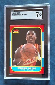 1986-87 86 Fleer Basketball Dominique Wilkins #121 rookie SGC Graded 7 Hawks