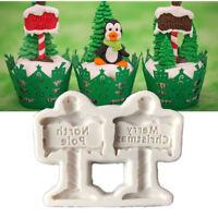 Merry Christmas Tree Elk Silicone Fondant Cake Chocolate Sugarcraft Mold Tool WE