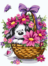 1x Printed Tapestry Thread Canvas Puppy in a Basket of Flowers Sewing Craft UK