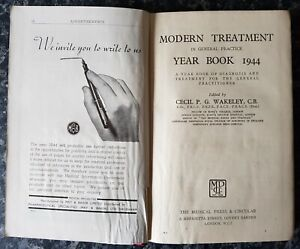 VINTAGE MEDICAL BOOK.1944.TREATMENT.SURGERY.HOSPITAL.DOCTOR.ILLUSTRATED.PROP.