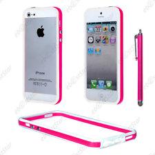 Housse Coque Etui Bumper Rose / Blanc Apple iPhone SE 5S 5 + Stylet