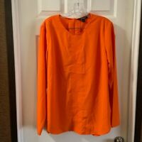 Lauren Ralph Lauren Women's Orange Scoop Neck Long Sleeve Blouse L