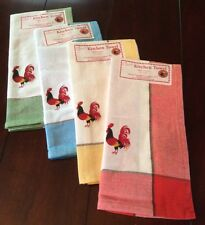Retro Style Cotton Kitchen Towels with ROOSTERS-Your  Choice (Gr/Blu/Yell/Red)