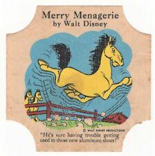 Scarce Walt Disney MERRY MENAGERIE Bread End Labels - Horse - Aluminum Shoes