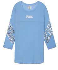 Victoria Secret PINK BLING  Sequin Graphics  FOOTBALL TEE Shirt Top.M