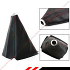 Black Pvc Leather Manual Shift Shifter Boot Cover With Red Stitching For Honda