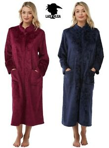Warm Embossed Zip Front Dressing Gown By Lady Olga Sizes 10-24 Soft Feel Fleece