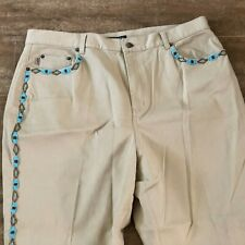 16W Ralph Lauren tan jeans native american beading turquoise plus size stretch