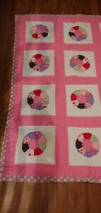 Handmade Baby Quilt or Lap Quilt HELLO KITTY & Strawberry Shortcake  PINK