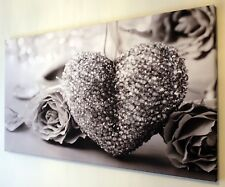 BLACK AND WHITE,  GREY HEART CANVAS WALL ART PICTURE 18 X 32 INCH FRAMED
