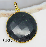 Gold Plated Faceted Round Green Goldstone Pendant (FC63DG)