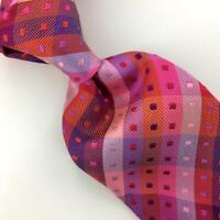 Duchamp Tie England Vibrant Red Pink Luxury Thick Geometric Necktie Silk Ties L3