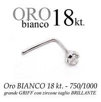 Piercing da naso nose ORO BIANCO 18kt. GRANDE griff ZIRCONE white GOLD