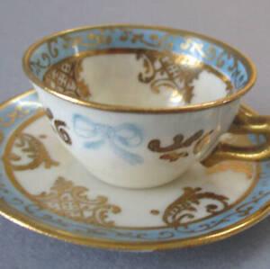 """Antique Miniature FRENCH Porcelain 1"""" Cup + Saucer FIGURES Blue Bows GILT * DOLL"""