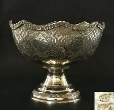 1920's Persian Repousse Sterling Silver Stem Bowl Tazza Compote Marked 274 Gram