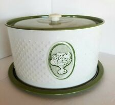 Weibro Green White Cake Plate With Cover Enamel Metal