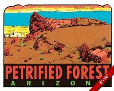VINTAGE PETRIFIED FOREST OF ARIZONA OLD TRAVEL AD POSTER ART REAL CANVAS PRINT