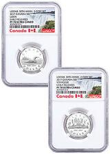 Set of 2 - 2017 Canada Loon 30th Anniv 1/4 oz Silver $1 NGC PF70 UC ER SKU48232