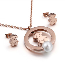 Stainless steel Freshwater Shell pearls Teddy Bear Necklace Earrings Set
