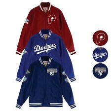 "MLB Mitchell & Ness ""Team History"" Vintage Warm Up Jacket w/ Patches Men's"