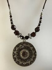 """Brown Leather Cord & Silver Tone 18"""" Ethnic Style Statement Necklace (A500)"""